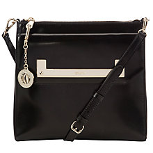 Buy DKNY Hudson Leather Across Body Bag, Black Online at johnlewis.com