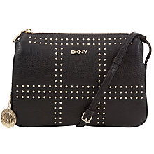 Buy DKNY Tribeca Stud Across Body Leather Bag, Black Online at johnlewis.com