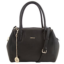 Buy DKNY Tribeca Zip Leather Satchel Bag, Black Online at johnlewis.com