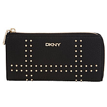 Buy DKNY Tribeca Large Leather Half Zip Around Purse, Black Online at johnlewis.com