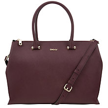 Buy DKNY Saffiano Large Leather Top Zip Shopper Bag, Bordeaux Online at johnlewis.com