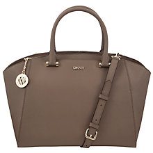 Buy DKNY Saffiano Large Leather Satchel Bag, Natural Online at johnlewis.com