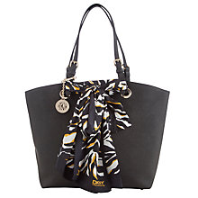 Buy DNKY Saffiano Leather Scarf Shopper Bag, Black Online at johnlewis.com