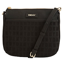 Buy DKNY Heritage Logo Print Leather Across Body Bag, Black Online at johnlewis.com