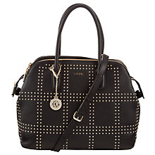 Buy DKNY Tribeca Stud Zip Leather Satchel Bag, Black Online at johnlewis.com
