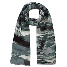Buy Kin by John Lewis Brush Mark Gradient Print Rectangular Scarf, Grey Online at johnlewis.com