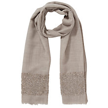 Buy John Lewis Occasion Silk Blend Sequin Border Scarf, Grey Online at johnlewis.com