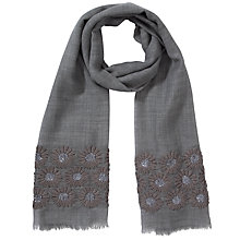 Buy John Lewis Occasion Silk Blend Paisley Flower Embroidered Scarf, Grey Online at johnlewis.com