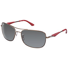 Buy Ray-Ban RB3515 Oval Polarised Sunglasses, Gunmetal Online at johnlewis.com
