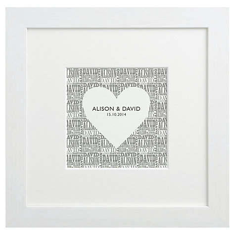 Buy Letterfest Personalised Typographic Heart Framed Print, 25.5 x 25.5cm Online at johnlewis.com