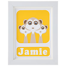 Buy Stripey Cats Personalised Meerkat Framed Print, 23 x 18cm, Yellow Online at johnlewis.com