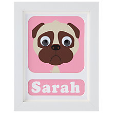 Buy Stripey Cats Personalised Pug Framed Print, 23 x 18cm, Pink Online at johnlewis.com