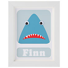 Buy Stripey Cats Personalised Shark Framed Print, 23 x 18cm, Blue Online at johnlewis.com