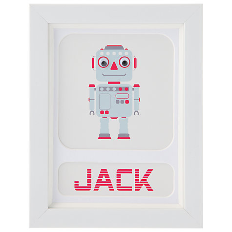 Buy Stripey Cats Personalised Robot Framed Print, 23 x 18cm, Red Online at johnlewis.com
