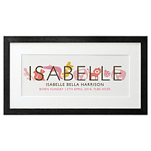 Buy Letterfest Kid's Name Framed Print, Reds/Pinks, 21 x 42cm Online at johnlewis.com