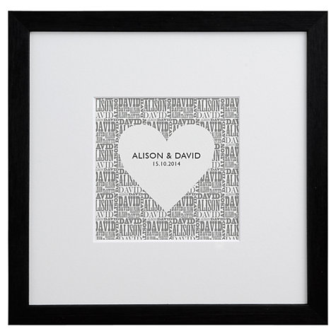Buy Letterfest Typographic Heart Framed Print, 25.5 x 25.5cm Online at johnlewis.com