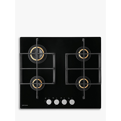 John Lewis JLBIGGH606 Gas Hob, Black Glass