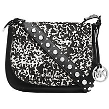 Buy MICHAEL Michael Kors Hayes Large Leather Messenger Bag, Black Online at johnlewis.com