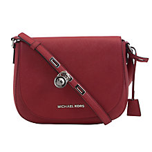 Buy MICHAEL Michael Kors Large Hamilton Leather Messenger Bag, Dark Dune Online at johnlewis.com