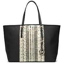 Buy MICHAEL Michael Kors Medium Jet Set Center-Stripe Travel Leather Tote Bag Online at johnlewis.com