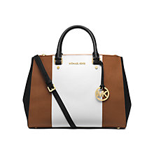 Buy MICHAEL Michael Kors Sutton Center Stripe Leather Satchel Bag, Multi Online at johnlewis.com