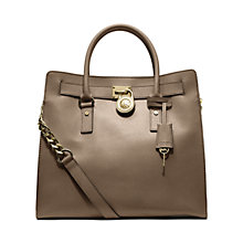 Buy MICHAEL Michael Kors Hamilton 18K Large Leather North/South Tote Bag, Dark Dune Online at johnlewis.com