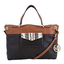 Buy Michael Kors Mira Large Leather Satchel Bag, Navy / Tan Online at johnlewis.com