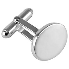 Buy John Lewis Sterling Silver Oval Cufflinks, Silver Online at johnlewis.com