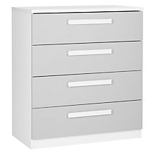 Buy House by John Lewis Mix it Block Handle Wide 4 Drawer Chest, House Smoke/Matt White Online at johnlewis.com