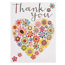 Buy Rachel Ellen Floral Heart Thank You Cards, Pack of 5 Online at johnlewis.com