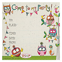 Buy Rachel Ellen Owls Party Invites, Pack of 8 Online at johnlewis.com