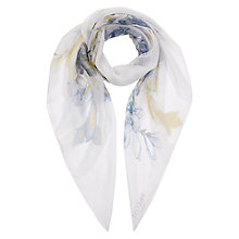 Buy Hobbs Freshia Floral Silk Scarf, Pastel Blue Online at johnlewis.com