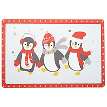 Buy John Lewis Vinyl Penguin Placemat, Red/White Online at johnlewis.com