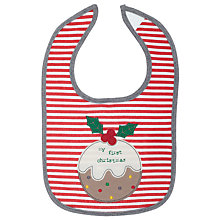 Buy John Lewis 'My First Christmas' Bib, Red/White Online at johnlewis.com