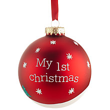 Buy John Lewis 'My First Christmas' Glass Bauble, Red Online at johnlewis.com