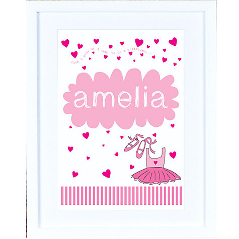 Buy Megan Claire Personalised When I Grow Up Ballerina Framed Print, 35.5 x 27.5cm Online at johnlewis.com