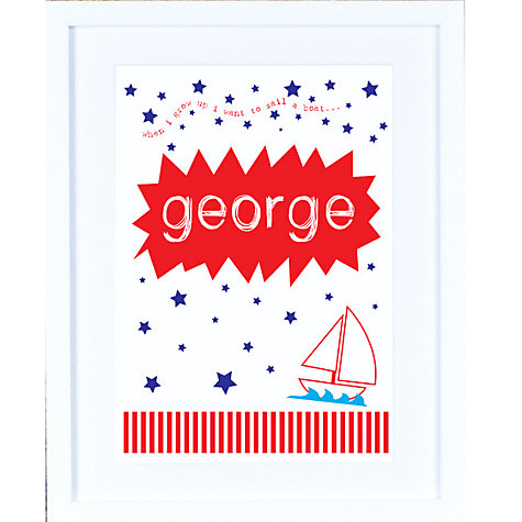 Buy Megan Claire Personalised When I Grow Up Sailor Framed Print, 35.5 x 27.5cm Online at johnlewis.com