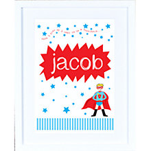 Buy Megan Claire Personalised When I Grow Up Superhero Framed Print, 35.5 x 27.5cm Online at johnlewis.com