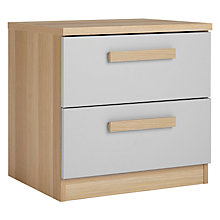 Buy House by John Lewis Mix it Block Handle 2 Drawer Bedside Chest, House Smoke/Natural Oak Online at johnlewis.com