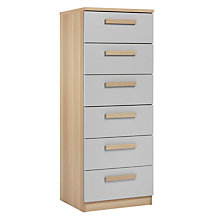 Buy House by John Lewis Mix it Block Handle Narrow 6 Drawer Chest, House Smoke/Natural Oak Online at johnlewis.com