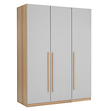 Buy House by John Lewis Mix it Block Handle Triple Wardrobe, House Smoke/Natural Oak Online at johnlewis.com