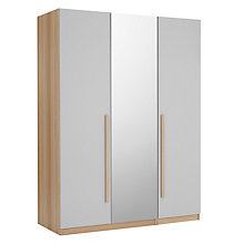Buy House by John Lewis Mix it Block Handle Triple Wardrobe with Central Mirror, House Smoke/Natural Oak Online at johnlewis.com