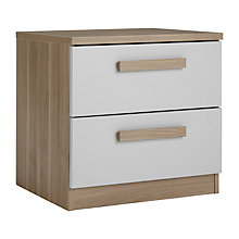 Buy House by John Lewis Mix it Block Handle 2 Drawer Bedside Chest, House Smoke/Grey Ash Online at johnlewis.com