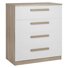 Buy House by John Lewis Mix it Block Handle Wide 4 Drawer Chest, House Smoke/Grey Ash Online at johnlewis.com