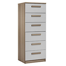 Buy House by John Lewis Mix it Block Handle Narrow 6 Drawer Chest, House Smoke/Grey Ash Online at johnlewis.com