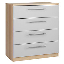Buy House by John Lewis Mix it T-Bar Handle Wide 4 Drawer Chest, House Smoke/Natural Oak Online at johnlewis.com
