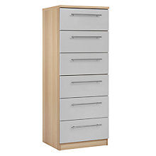 Buy House by John Lewis Mix it T-Bar Handle Narrow 6 Drawer Chest, House Smoke/Natural Oak Online at johnlewis.com