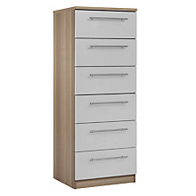 Buy House by John Lewis Mix it T-Bar Handle Narrow 6 Drawer Chest, House Smoke/Grey Ash Online at johnlewis.com