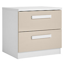 Buy House by John Lewis Mix it Block Handle 2 Drawer Bedside Chest, House Putty/Matt White Online at johnlewis.com
