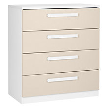 Buy House by John Lewis Mix it Block Handle Wide 4 Drawer Chest, House Putty/Matt White Online at johnlewis.com